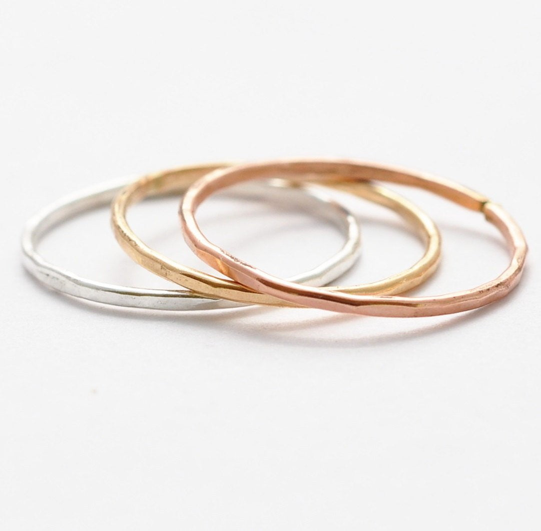 Rose Gold Ring: Hammered 14K Gold Filled Band, Stacking Rings