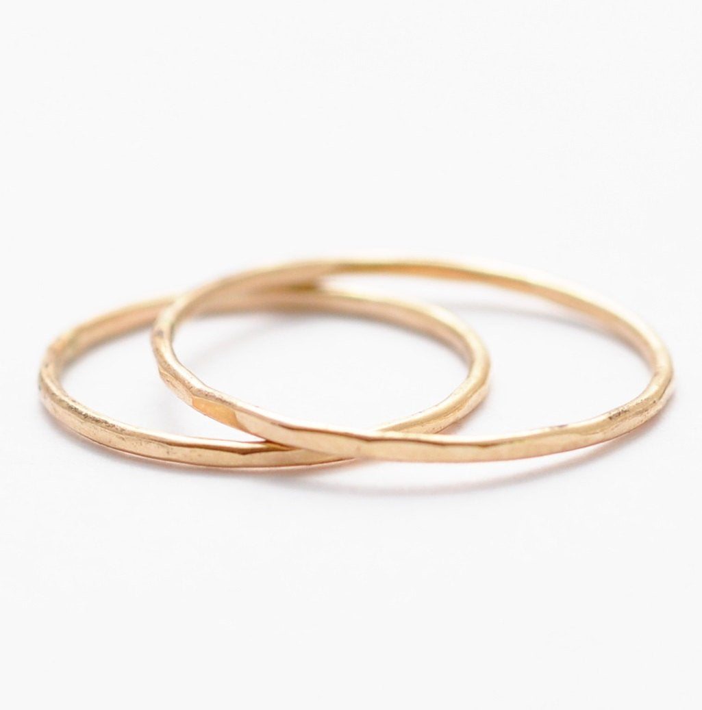 Stackable Rings: Hammered Yellow Gold Filled Bands, Minimalist