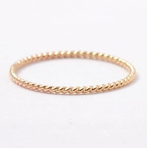 Twisted Wedding Band: Solid 14K Yellow Gold Wedding Ring