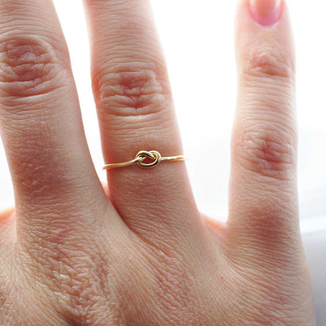 Gold Promise Ring: Solid 14K Yellow Gold, Simple Knot