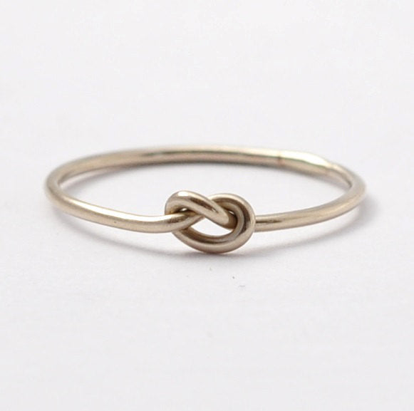 White Gold Knot Ring: Solid 14K Promise Ring, Valentines Gifts for Her