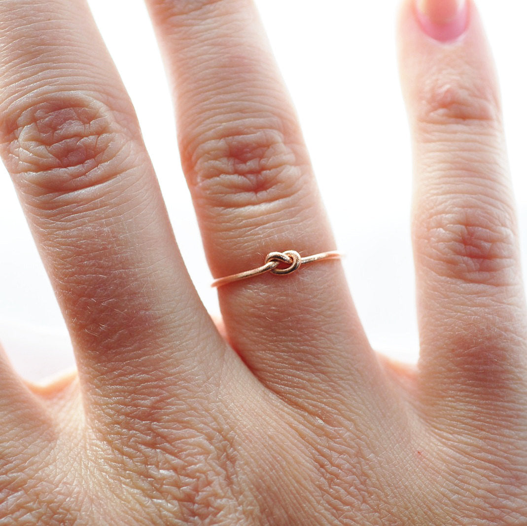 Knot Promise Ring: Solid 14K Rose Gold Ring, Best Valentines Day Gift Ideas