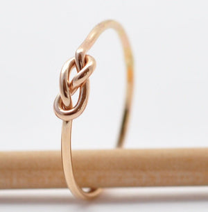 Gold Infinity Ring: Yellow Gold Filled Love Knot, Valentine Gifts Under 20