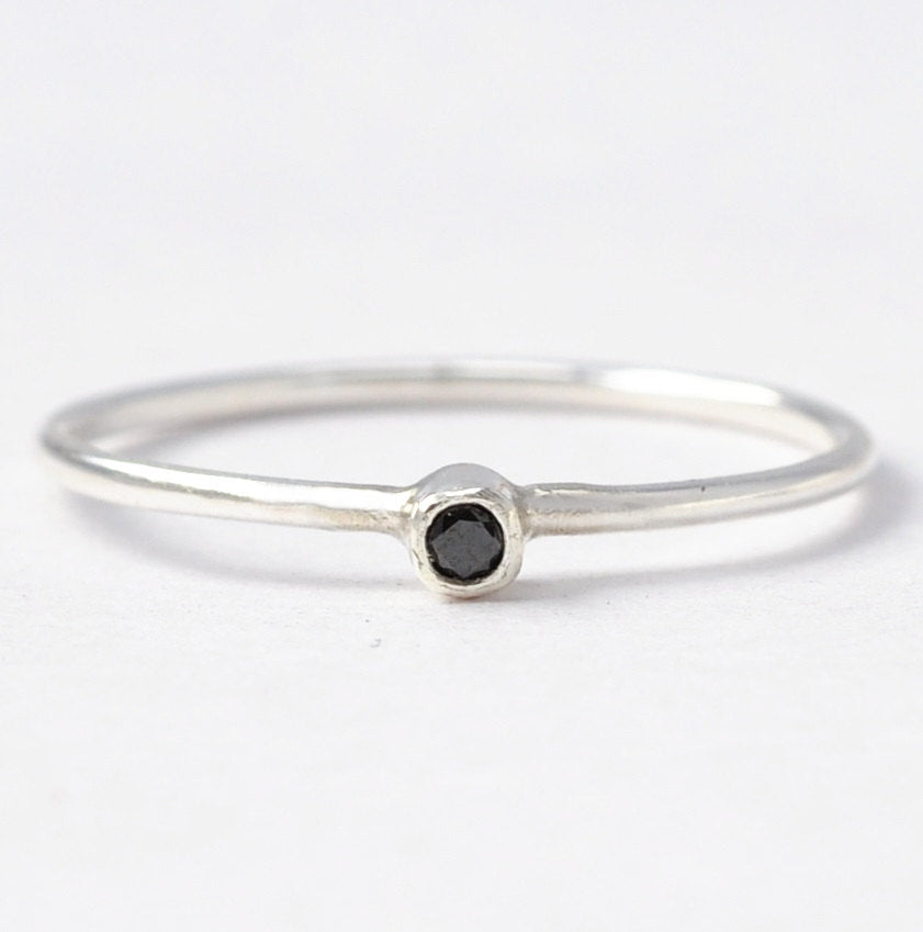Black Diamond Ring: Simple Silver & Tiny Diamond Ring, Unique Anniversary Gifts