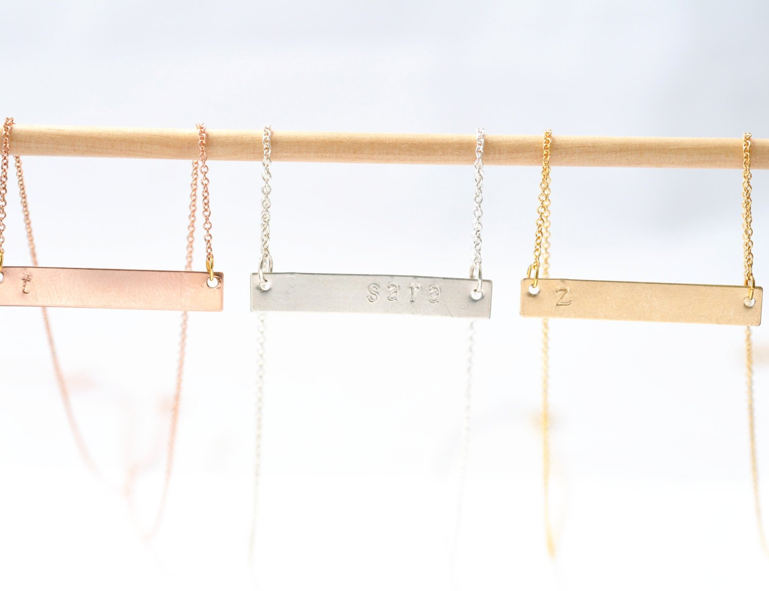 Rose Gold Bar Necklace: Personalized Gifts, Everyday Simple Jewelry