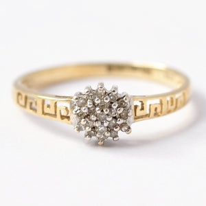 Diamond Cluster Rings: Vintage 9K Gold, Size 7.75