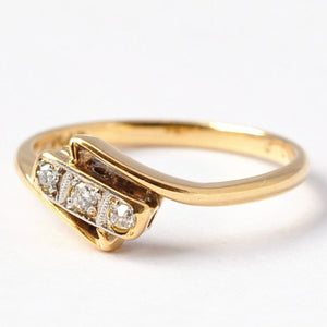 3 Stone Engagement Rings: Diamonds, 18K Gold & Platinum, Size 5/5.25