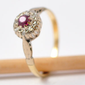 Ruby Rings: Antique Diamond Halo, 18K Gold & Platinum, Size 5.5 / 5.75