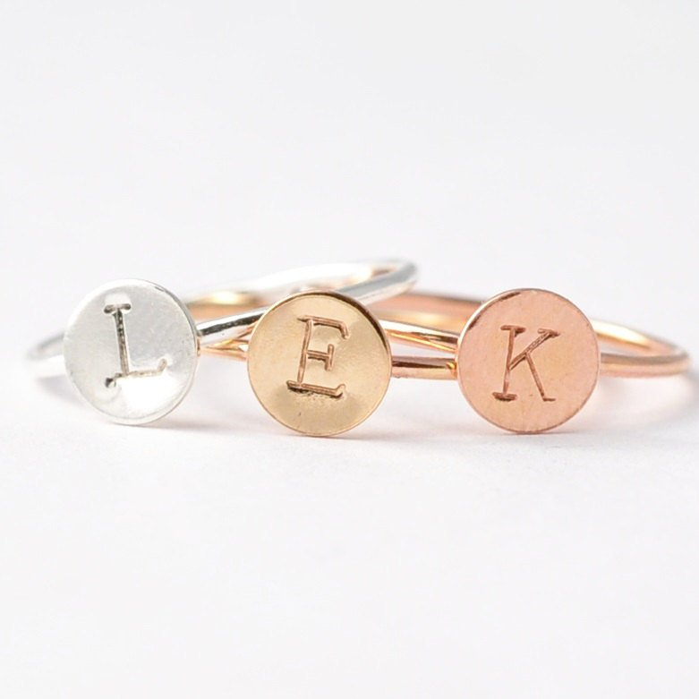Monogrammed Jewelry: Silver Initial Ring, Custom Gifts