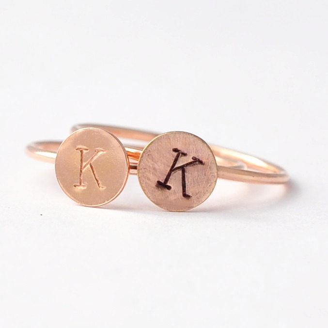 Custom Valentines Gifts Under 20: Rose Gold Personalized Initial Ring