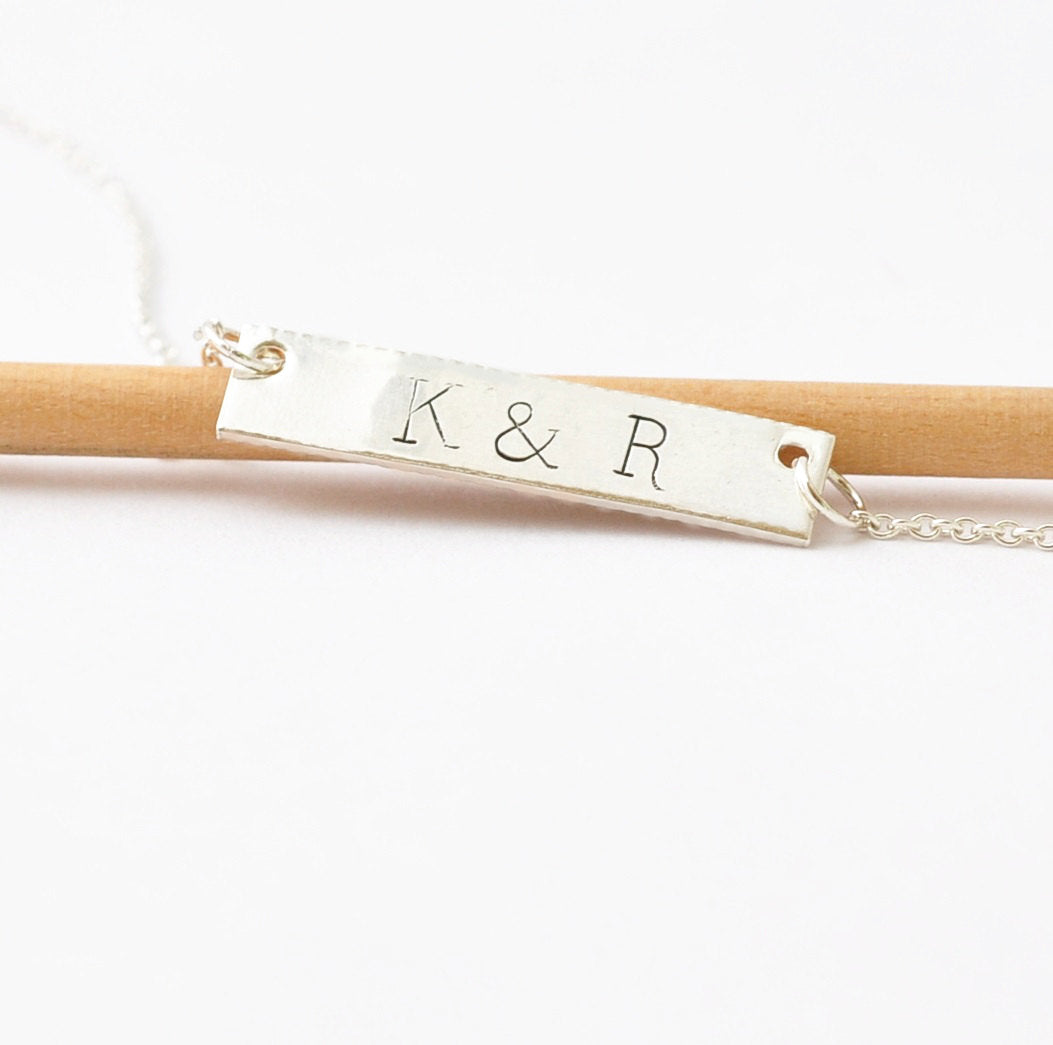 Double Sided Engraving: Personalized Bar Necklace, New Baby Gifts