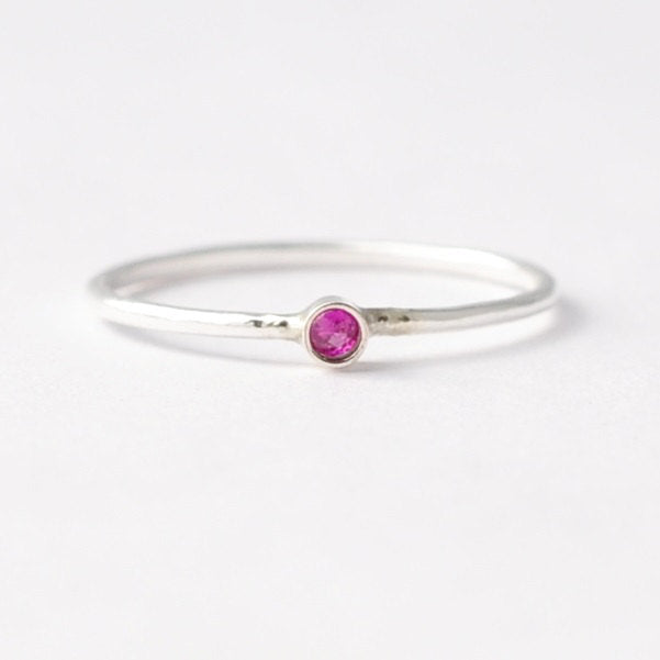 Ruby Rings: Simple Silver Solitaire, Valentines Day Presents for Women