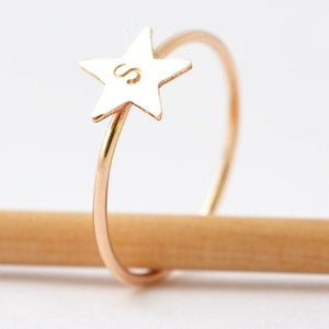 Personalized Rings: Yellow Gold Filled Star Band, Engraved Valentines Gifts