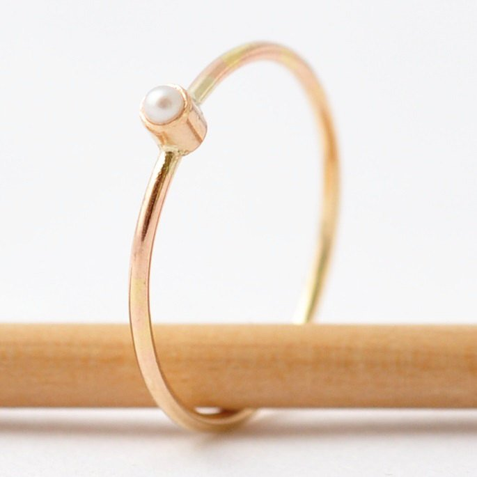 Simple Pearl Ring: 14K Gold, Valentines Day Gift Ideas for Wife