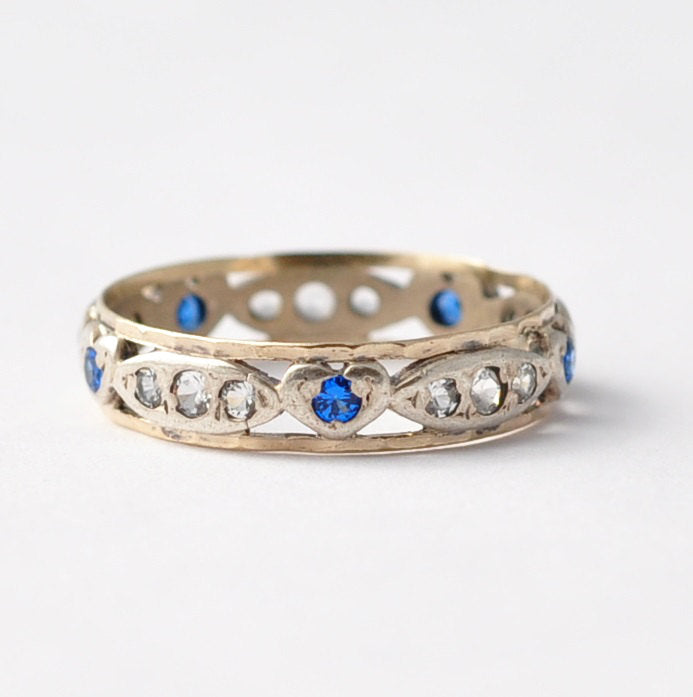 Vintage Promise Ring: Heart Shaped Sapphires, Diamond Pastes, Silver & 9K Gold, Size 7.75