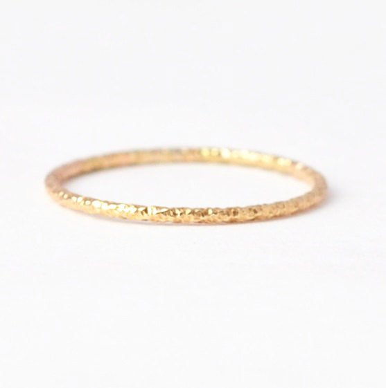 Boho Rings: Textured Yellow Gold Filled Band, Inexpensive Valentines Day Gifts
