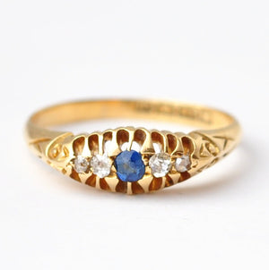 Sapphire and Diamond Ring: Victorian 18K Gold, Size 6.5