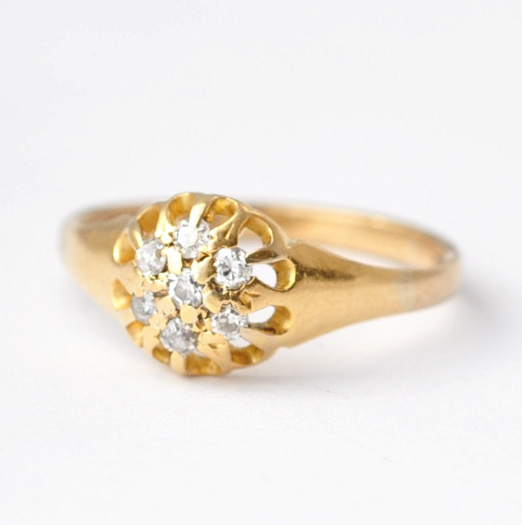 Victorian Engagement Rings: Diamonds & 18K Gold, Size 6.5