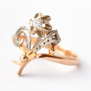 Art Nouveau Rings: Diamond & 14K Gold, Size 6.75/7