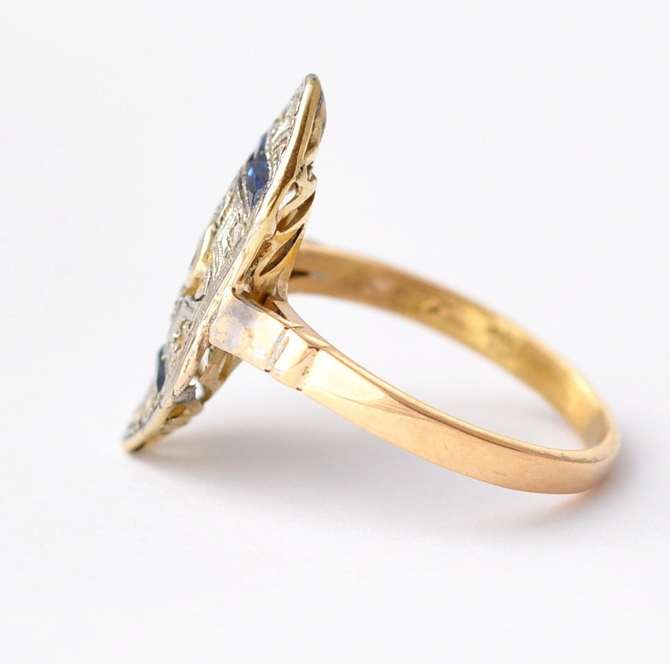Sapphire and Diamond Engagement Ring: Antique 18K Gold & Platinum, Size 4.25
