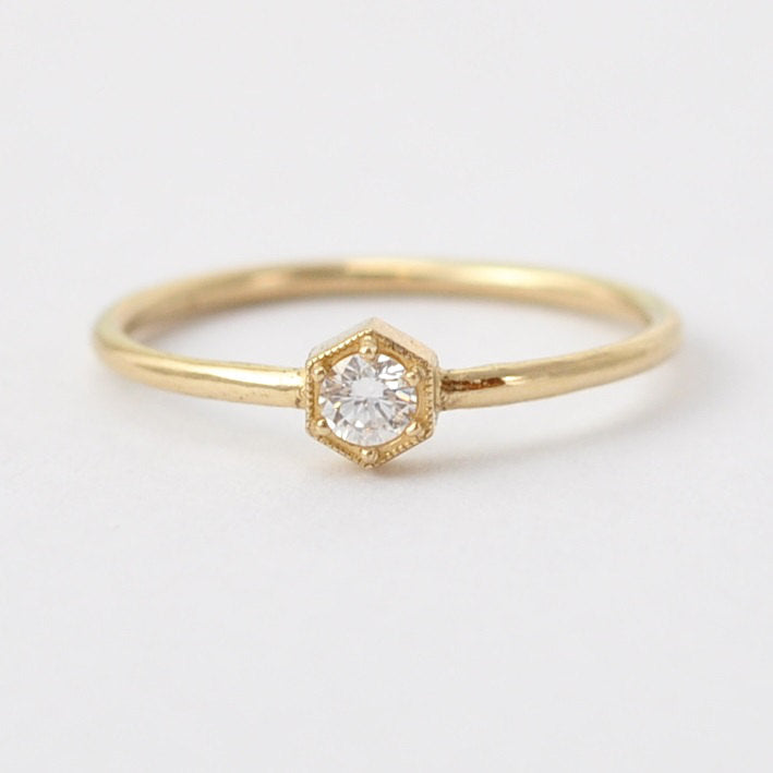 Unique Diamond Rings: 14K 18K Hexagon Engagement Ring under 1000