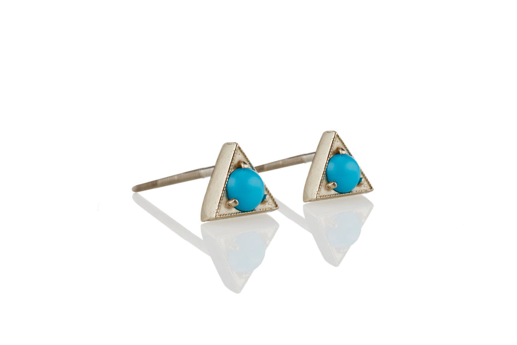 Turquoise Stud Earrings: 14K/18K Gold Triangle
