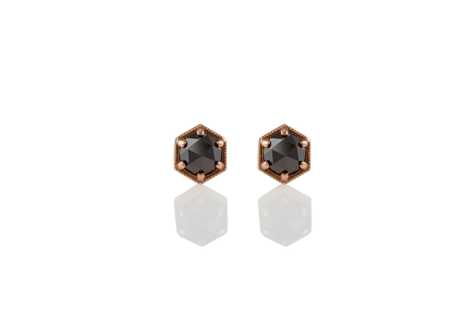 Black Diamond Earrings: 14K/18K Rose Gold Hexagon