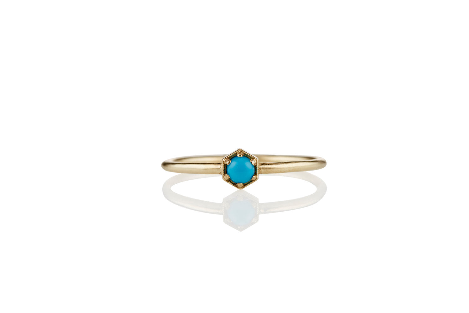 Turquoise Engagement Ring: Unique 14K 18K Hexagon
