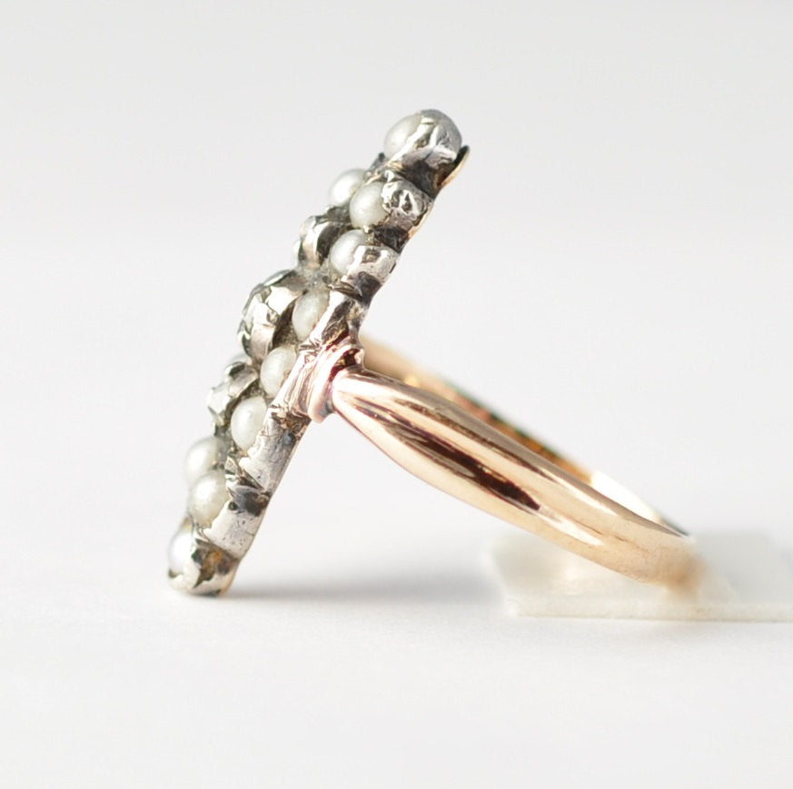 Pearl and Diamond Cluster Ring: 1860s Victorian, 10K Yellow Gold & Sterling Silver, Size 6.5