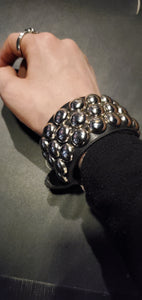 3 row studded leather cuff