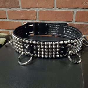 5 row studded leather bondage belt