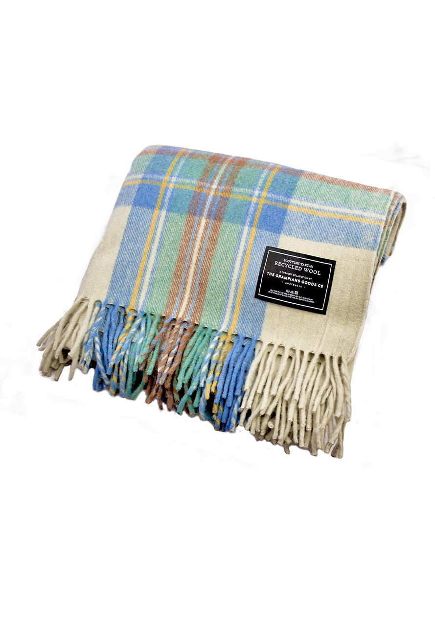 The Grampians Goods Co: Recycled Wool Scottish Tartan Blankets - Spring