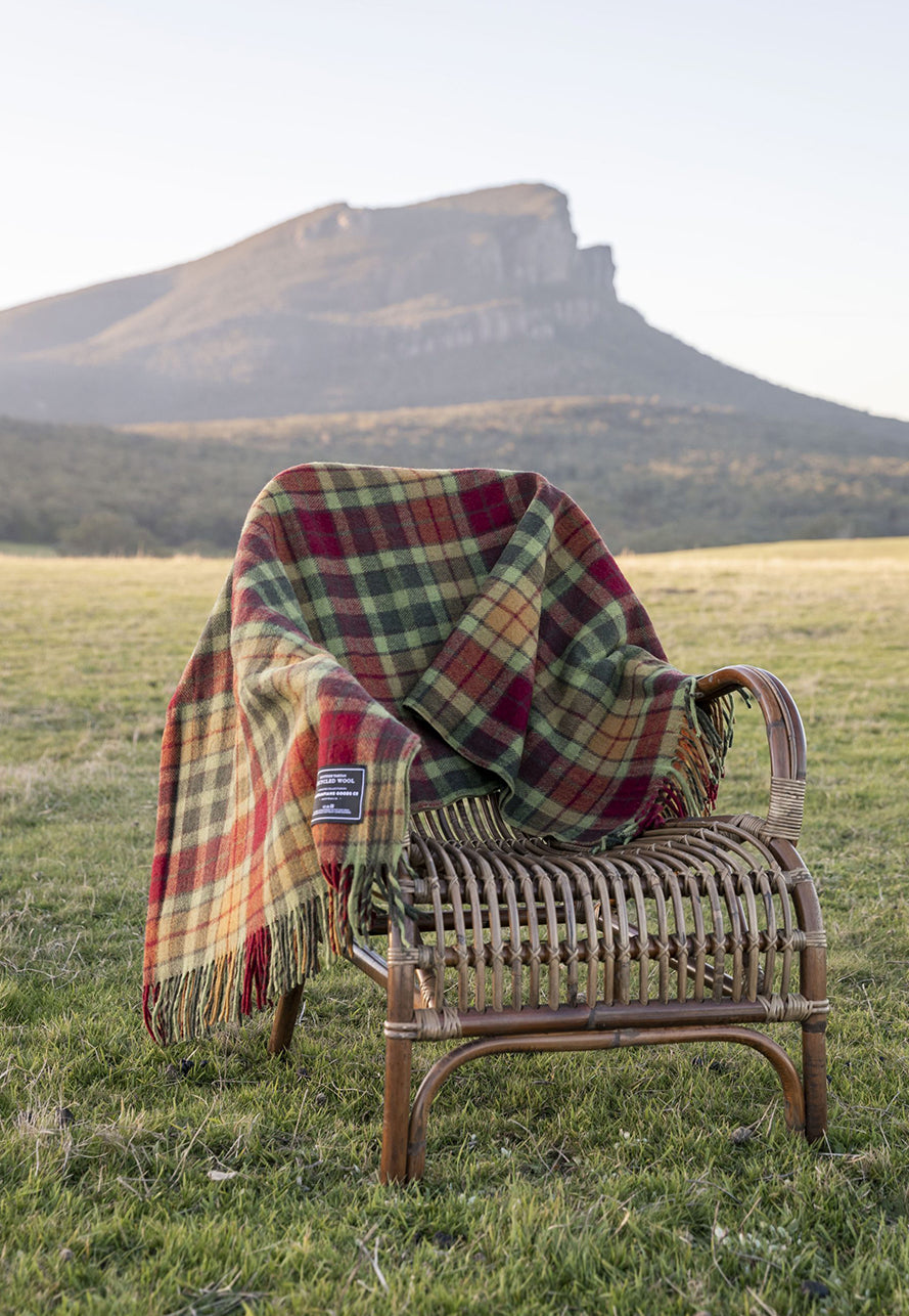 The Grampians Goods Co: Recycled Wool Scottish Tartan Blankets - Maple Moss