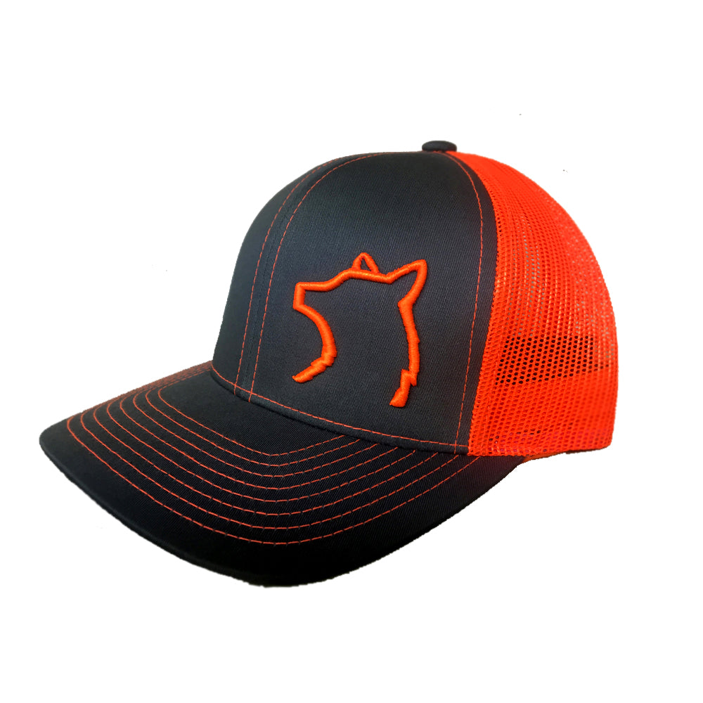 Charcoal / Orange Snap Back Hat