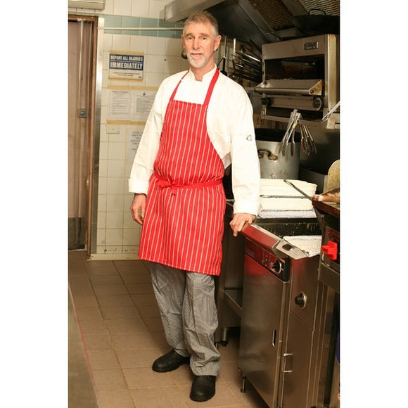Red Stripe Bib Apron