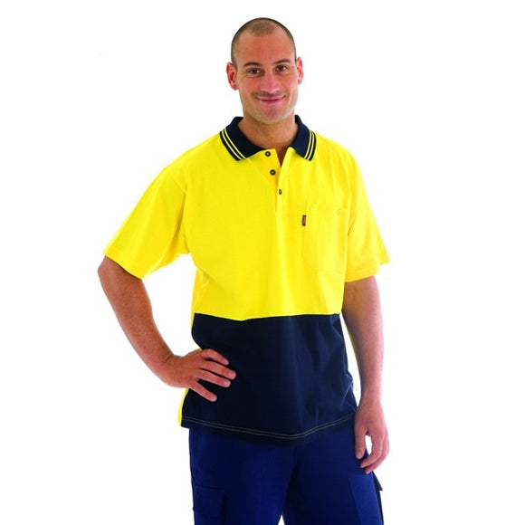 3845 -HiVis Cool-Breeze Cotton Jersey Polo Shirt with Under Arm Cotton Mesh, S/S
