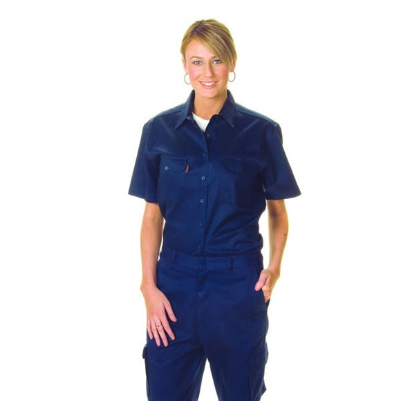 3231-Ladies Cotton Drill Work Shirt, Short Sleeve