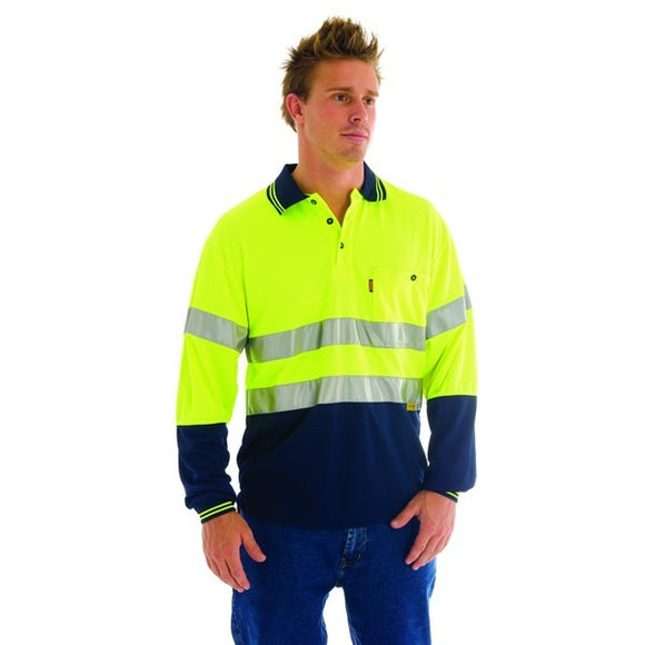 3913 -HiVis Mircomesh Polo Shirt with 3M Reflective Tape -L/S