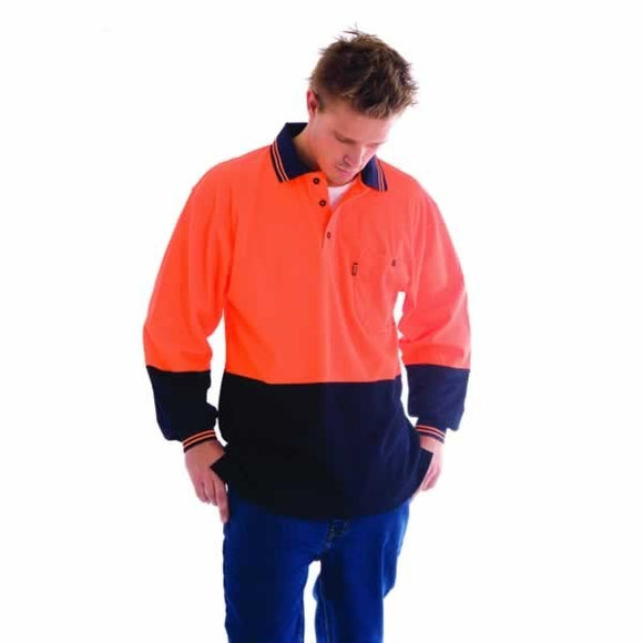 3818 -Cotton Back HiVis Two Tone Fluoro Polo, L/S