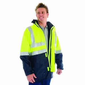 "3864-""4 in 1"" HiVis Two Tone Breathable Jacket with Vest and 3M Reflective Tape"