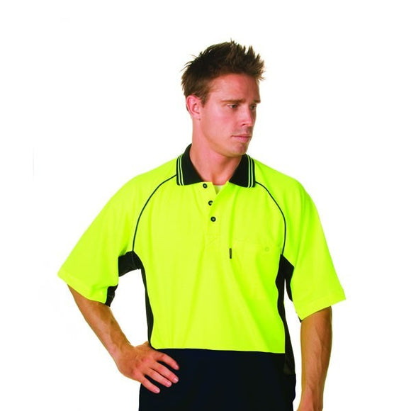 3917- HiVis Two Tone Cotton Back Cool-Breeze Side Mesh Polo, S/S