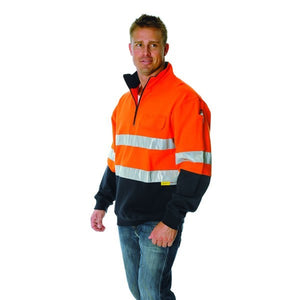 3925- HiVis Two Tone 1/2 Zip Cotton Fleecy Windcheater with 3M 8906 R/Tape
