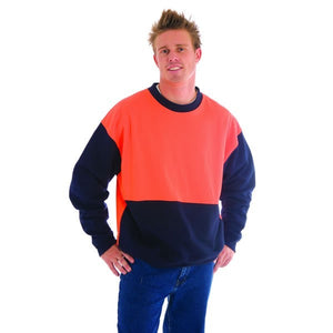 3821-HiVis Two tone Fleecy Sweat Shirt, Crew Neck