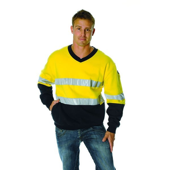 3924-HiVis Two Tone Cotton Fleecy Sweat Shirt, V-Neck with 3M Reflective Tape