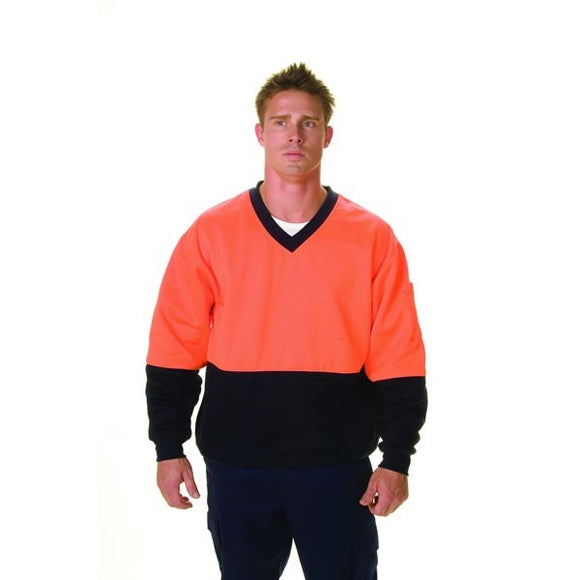 3922- HiVis Two Tone Cotton Fleecy Sweat Shirt, V-Neck