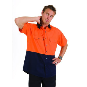 3839-HiVis Two Tone Cool-Breeze Cotton Shirt, Short Sleeve