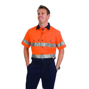 3887-HiVis Two Tone Cool-Breeze Cotton Shirt with 3M Reflective Tape, S/S