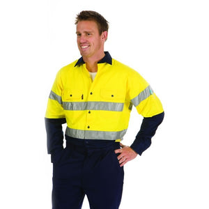3886-HiVis Two Tone Cool-Breeze Cotton Shirt with 3M Reflective Tape, L/S