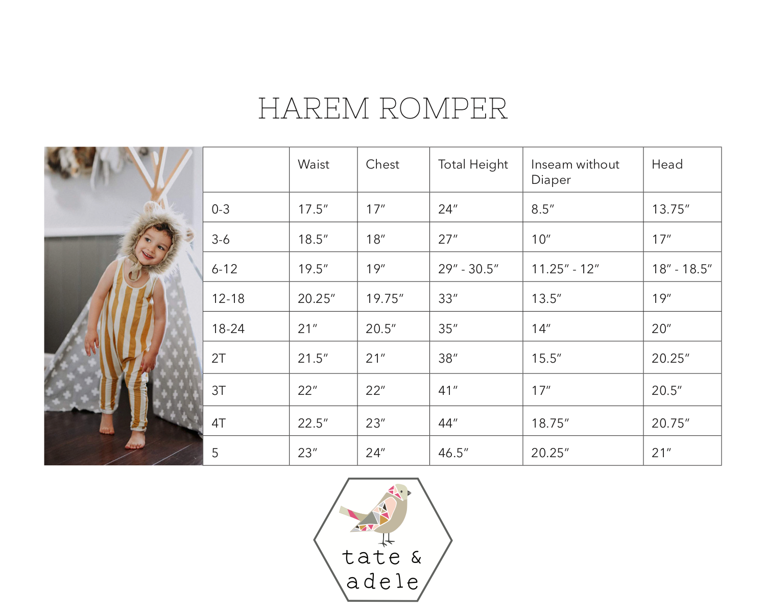 Harem Tank Romper by Tate and Adele Size Chart