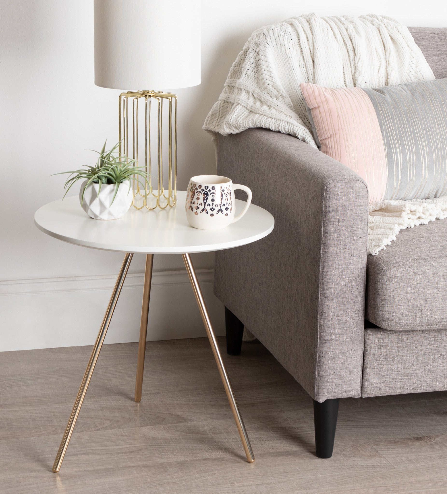 Side Table, Modern, White